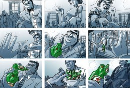 Storyboard door Emanuel Wiemans @ Roughmen voor Heineken - Greetings
