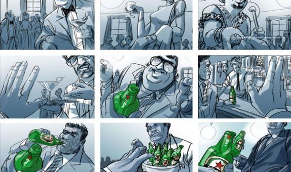 Storyboard door Emanuel Wiemans @ Roughmen voor Heineken - Greetings