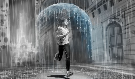 jan-blom-asics-vrouw-regen-paraplu