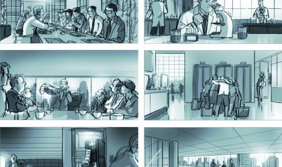 Storyboard door Emanuel Wiemans @ Roughmen voor Yacht